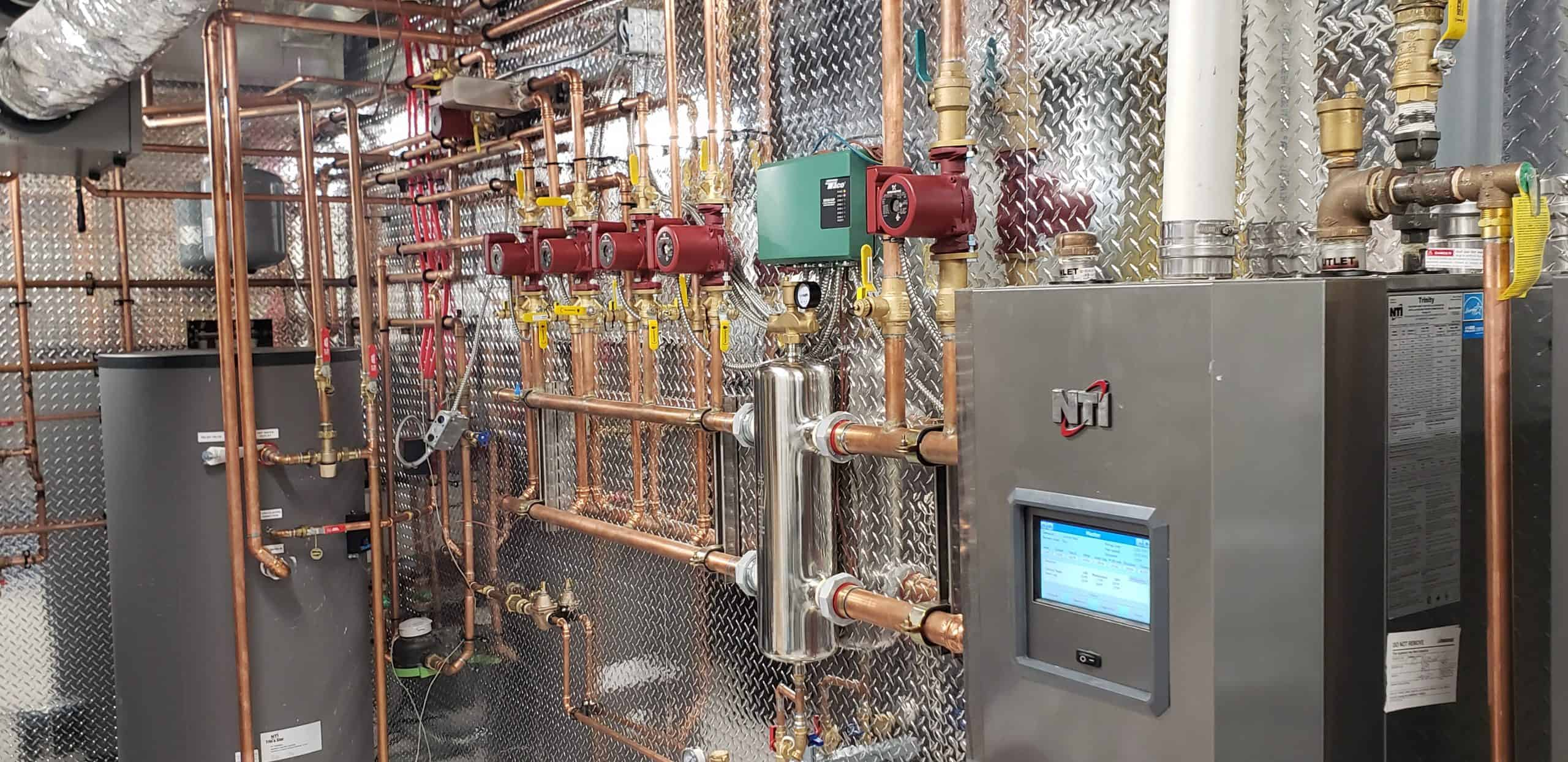 Radiant heating boiler room