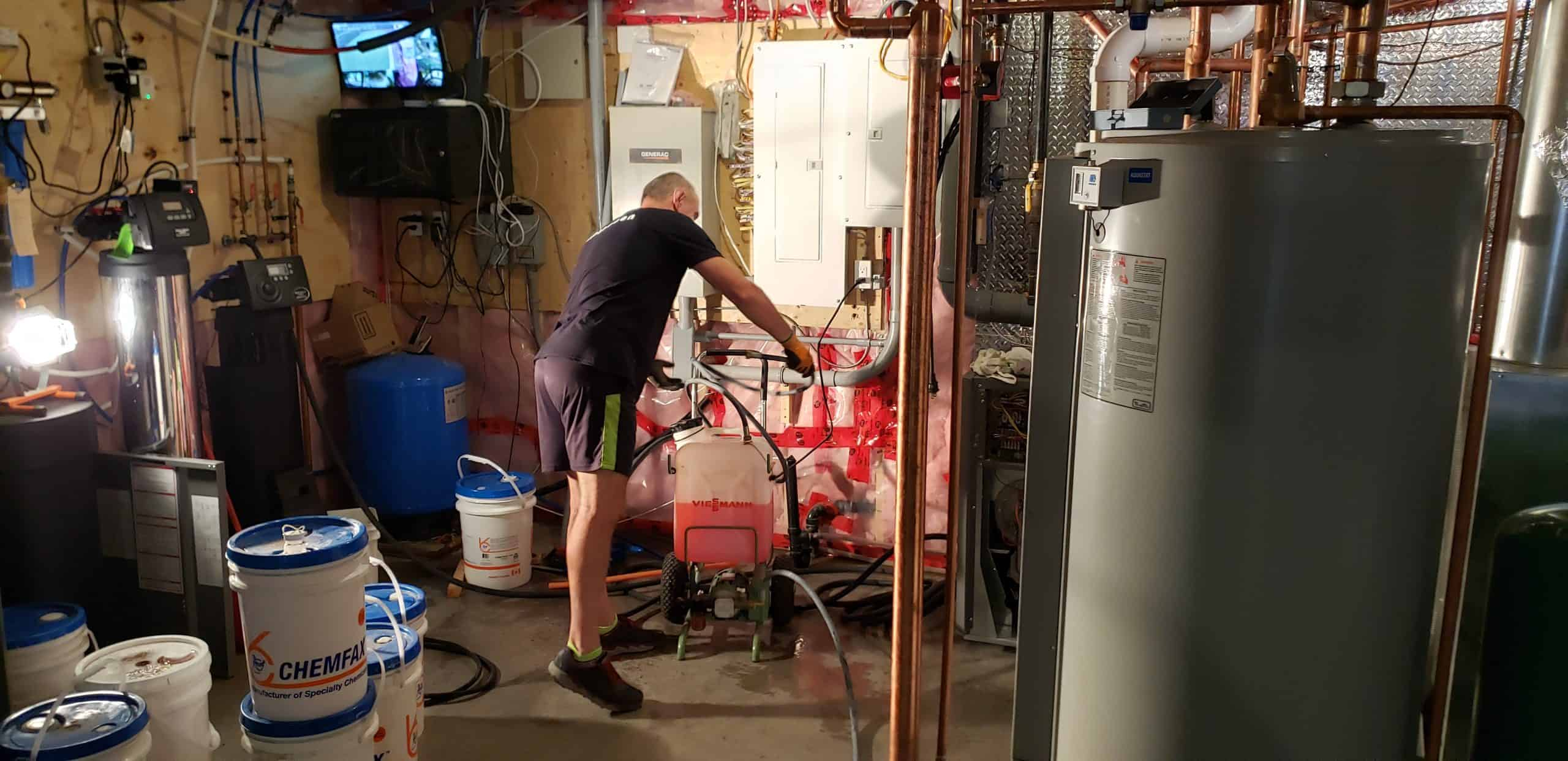 Purging the air from the floor heating system